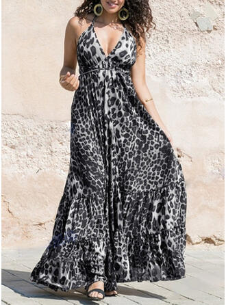 Leopard Sleeveless A-line Sexy/Party/Vacation Maxi Dresses