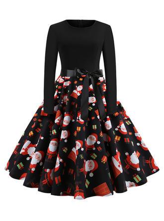 Print Long Sleeves A-line Knee Length Vintage/Christmas/Elegant Dresses
