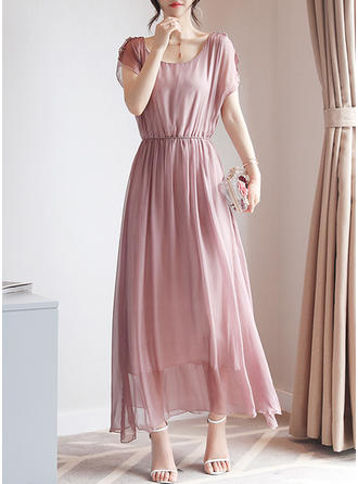 Imitation Silk With Stitching Maxi Dress