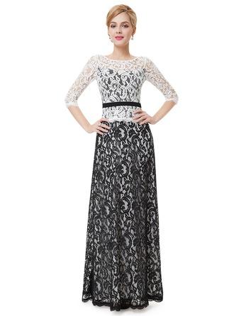Lace 1/2 Sleeves Shift Maxi Little Black Dresses