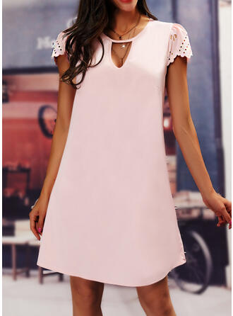 Einfarbig Kurze Ärmel Etuikleider Knielang Lässige Kleidung/Elegant Tunika Kleider