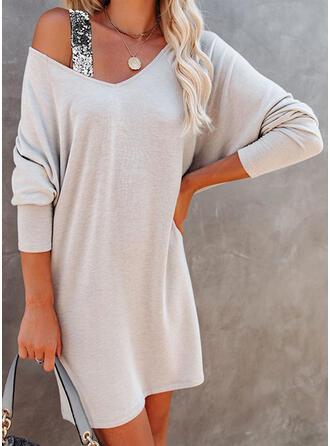 Pailletten/Einfarbig Lange Ärmel Shift Über dem Knie Freizeit Tunika Kleider