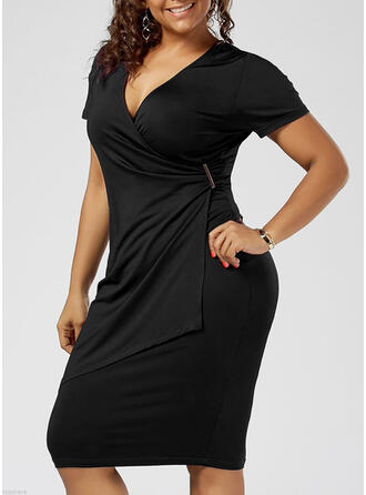 Solid Short Sleeves Bodycon Knee Length Little Black/Casual/Elegant/Plus Size Dresses