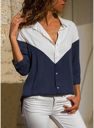 Color Block Lapel Long Sleeves Button Up Casual Blouses