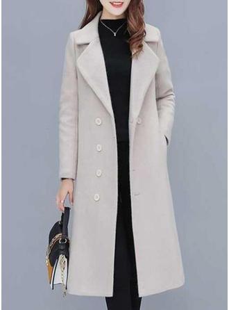 Polyester Cotton Long Sleeves Plain Woolen Coats