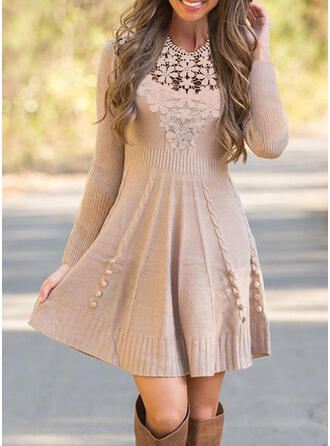 Lace/Solid Long Sleeves A-line Above Knee Elegant Sweater/Skater Dresses