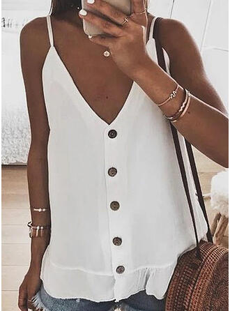 Solid Spaghetti Strap Sleeveless Button Up Casual Sexy Knit Tank Tops