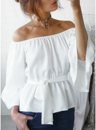 Polyester Off the Shoulder Plain Flare Sleeve Casual Blouses