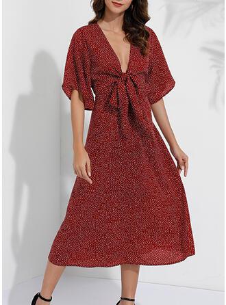 PolkaDot 1/2 Sleeves A-line Casual/Elegant Midi Dresses
