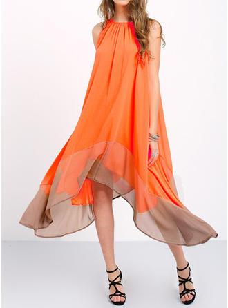 Bohemian Round Neck Asymmetrical Shift Dress