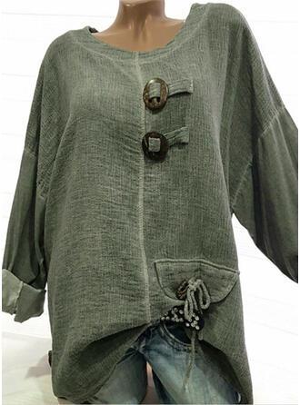 Sólido Cuello redondo Manga Larga Con Botones Casual camiseta