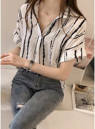 Chiffon Lapel Striped Short Sleeves Shirt Blouses