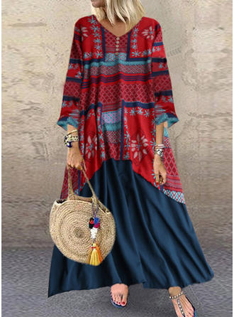 Print/Floral Long Sleeves Shift Maxi Casual Dresses