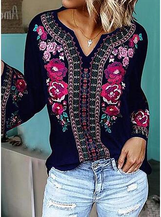 Print Floral V-Neck Long Sleeves Casual Elegant Knit Blouses