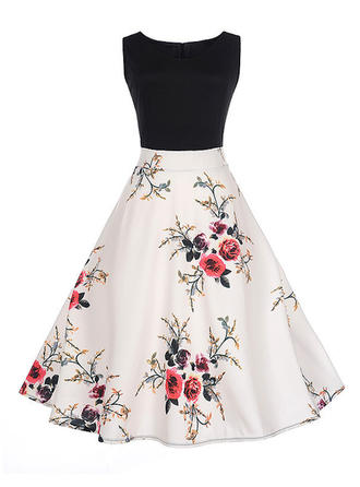 Print Floral Round Neck Above Knee A-line Dress