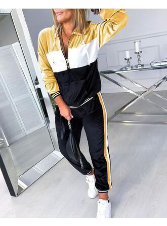 Com Capuz Manga Comprida Bloco de cores Elegante Conjuntos de calças e tops
