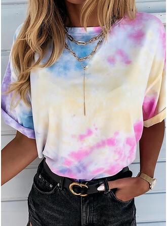 Tie Dye Cuello redondo Manga corta Casual Camisetas