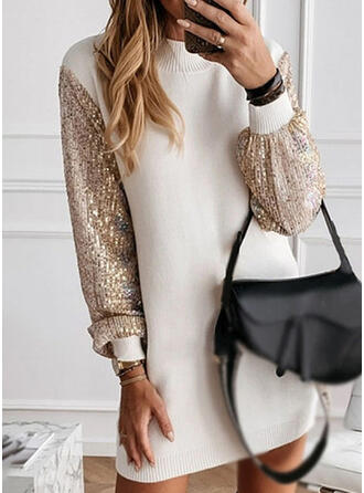 Sequins Long Sleeves Shift Above Knee Casual Dresses
