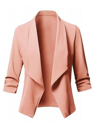 Blends 3/4 Sleeves Plain Blazers