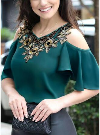 Print Floral Cold Shoulder 1/2 Sleeves Casual Elegant Blouses
