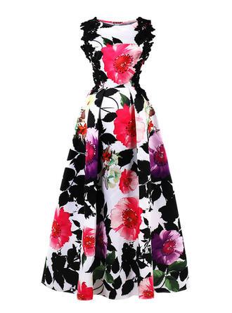 Print Floral Round Neck Maxi A-line Dress
