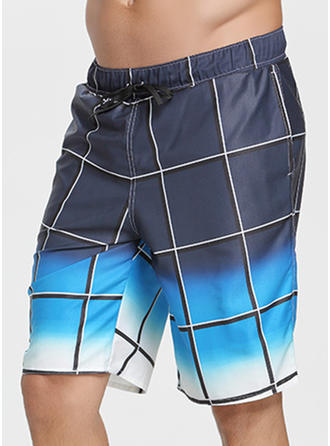 Men's Grid Print Board Shorts Swimsuit