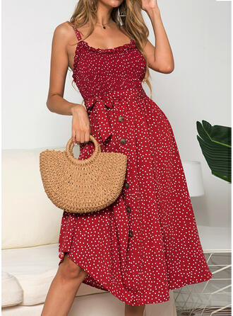 PolkaDot Sleeveless A-line Sexy/Casual/Vacation Midi Dresses
