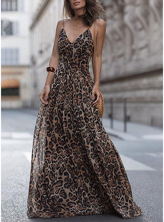 Print/Animal Print Sleeveless Shift Maxi Vacation Dresses