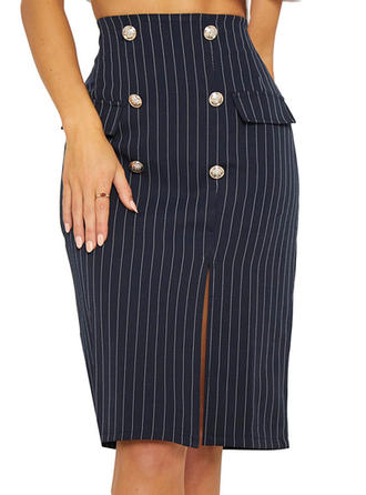 Polyester Striped Knee Length Pencil Skirts