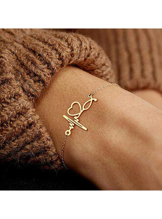 Simple Heart Valentine's Day ECG Alloy Women's Bracelets