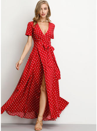 PolkaDot Short Sleeves A-line Maxi Casual/Boho/Vacation Dresses