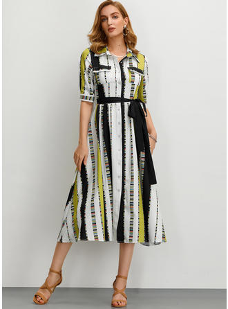 Print/Color-block 1/2 Sleeves A-line Midi Casual/Elegant Dresses