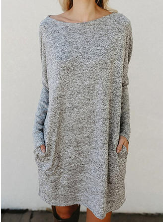 Solid Pocket Round Neck Sweater Dress
