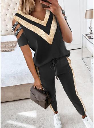 Χρώμα μπλοκ Ανέμελος μπλούζα & Ρούχα Δύο Κομματιών Set ()