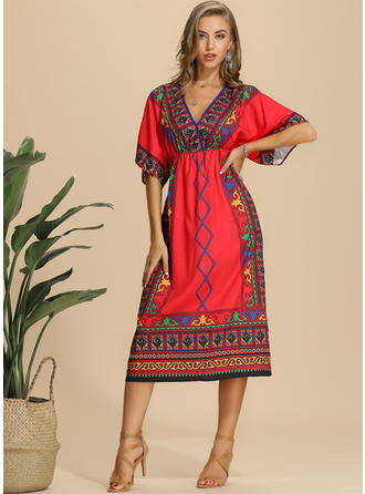 Print 1/2 Sleeves A-line Midi Casual Dresses