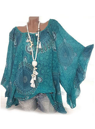 Print Round Neck Batwing Sleeve 3/4 Sleeves Casual Elegant Blouses