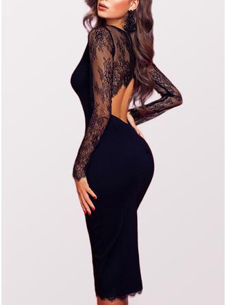 Dentelle/Couleur Unie Manches Longues Fourreau Midi Petites Robes Noires/Sexy/Fête Robes