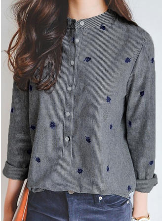 Cotton Blends Round Neck Print Long Sleeves Casual Blouses