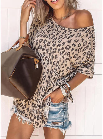 Leopard Round Neck Short Sleeves Casual Blouses
