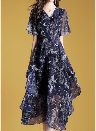 Ruffles V-neck Midi A-line Dress