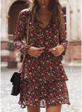 Print/Floral Long Sleeves A-line Above Knee Casual/Elegant Dresses