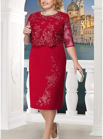 Lace/Solid 3/4 Sleeves Sheath Plus Size Midi Dresses
