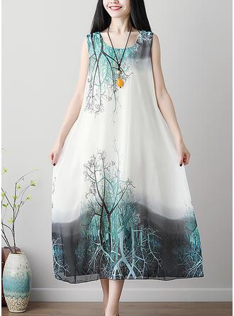 Print U Neck Midi Shift Dress