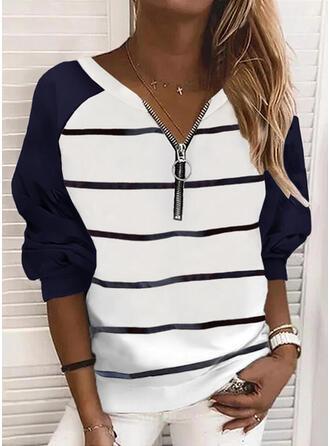 Print Color Block Stribe V-hals Lange ærmer Sweatshirts