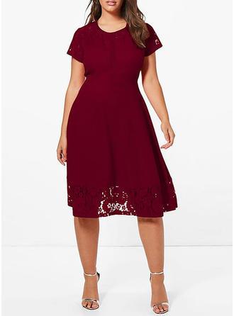 Krótkie rękawy Linia A Midi Sukienki