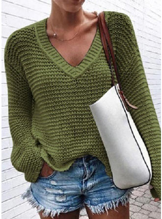 Couleur Unie Tricot Waffle Col V Pulls