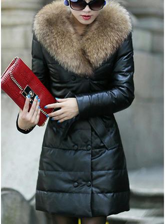 Skórzany Długie rękawy Jednolity kolor Mieszanki Płaszcze