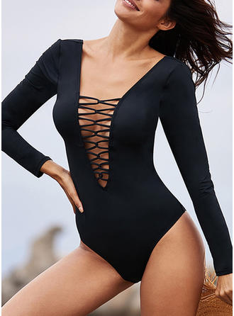 Solid Color Long Sleeve V-neck Strapless Sexy Attractive One-piece Swimsuits