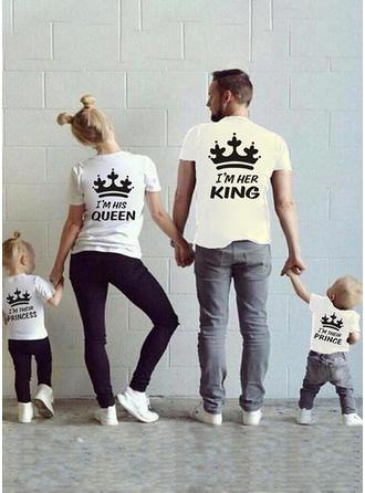Letter Dessin Animé Inmprimé Tenue Familiale Assortie T-shirts