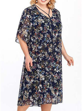 Print/Floral 1/2 Sleeves Shift Casual/Elegant/Plus Size Midi Dresses